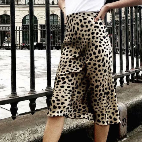 Sexy Leopard Print High Waist Bodycon Long Skirt