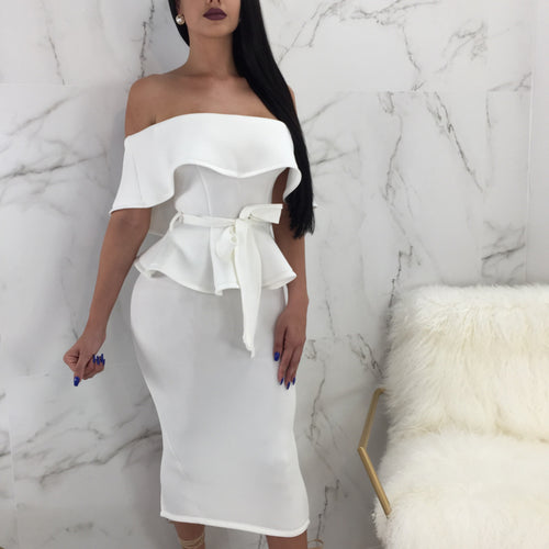 Sexy Plain Off Shoulder Ruffled Side Top Bowknot Belt Bodycon Skirt Suit