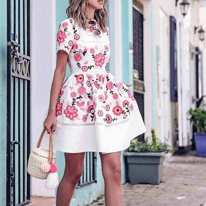 Elegant Fashion Slim Floral Round Neck Short Sleeve Bouffant Skater Dress