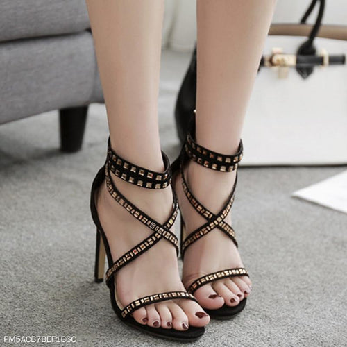 Rhinestone High Heel Rivet Cross Strap Sandals