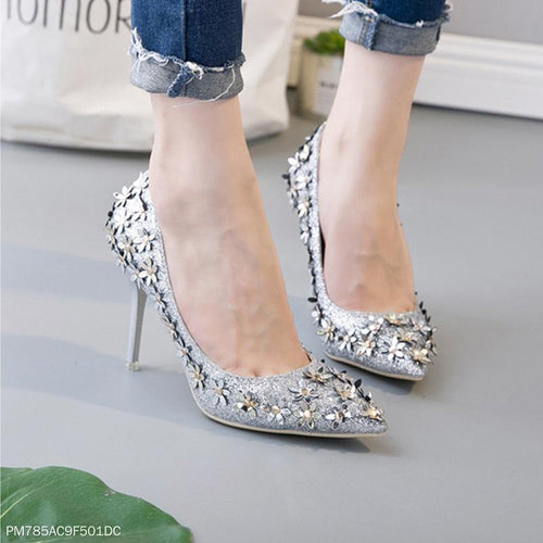 Sequined Flower Stiletto Heel Shoes