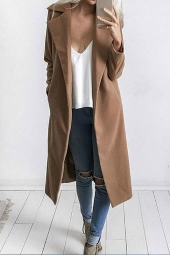Elegant Fashion Casual Loose Plain V Collar Long Sleeve Coat