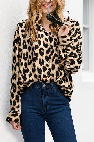 Fashion Casual Elegant Loose Leopard Print Button V Collar Long Sleeve Blouse