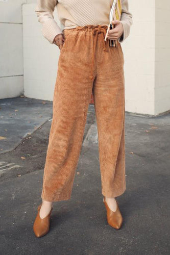 Chic Casual Thermal Corduroy Elastic Waist Loose Pants