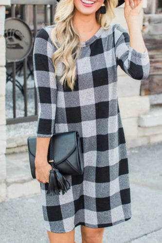 Fashion Casual Loose Plaid Long Sleeve Shift Dress