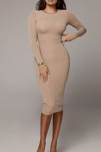 Sexy Round Collar Plain Slim Bodycon Dress