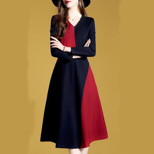 Elegant Fashion V Collar Long Sleeves Color Block Slim Skater Dress