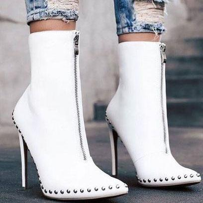 Fashion Pointed Head Rivets Decorated High Heel Zipper Boots