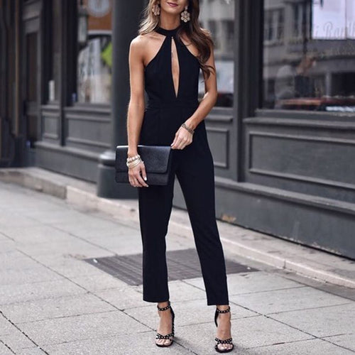 Sexy Fashion Black Hollow Out Jumpsuit