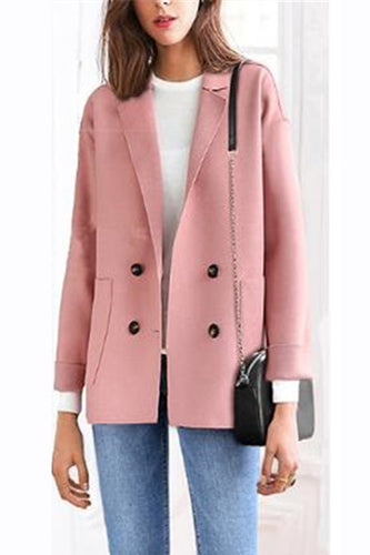 Fashion Loose Woolen Plain Button Coat