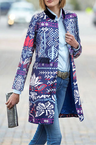 Fashion Elegant Slim Floral Long Sleeve Suit Coat