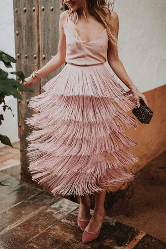 Sexy Fashion Tassel Overskirt Half Skirt