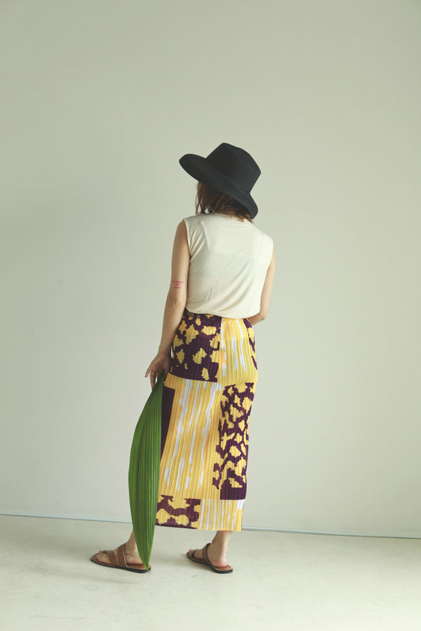 pattern pleats skirt PR010047