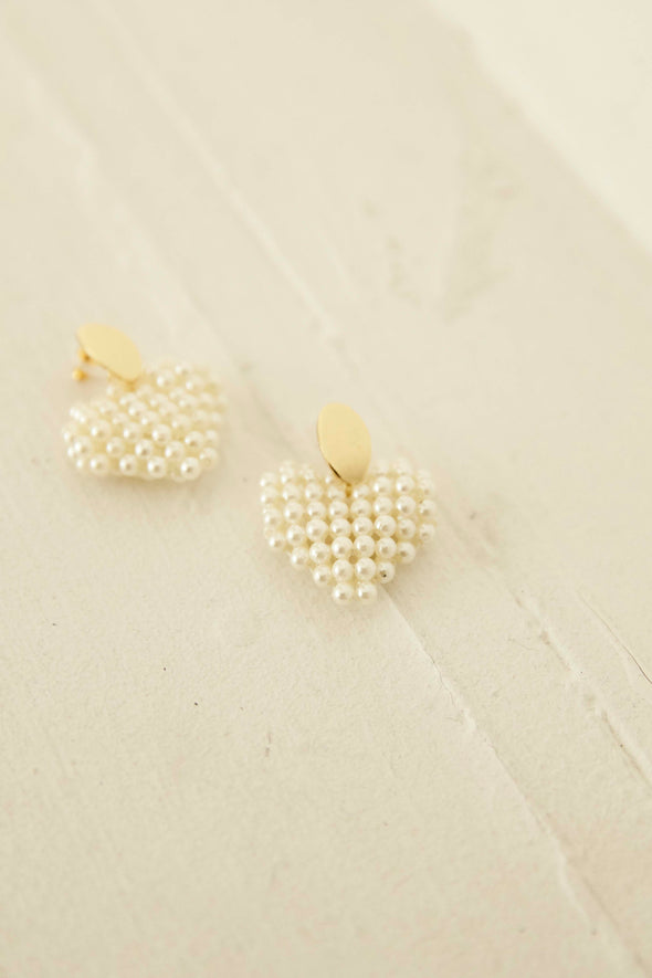 Pearl heart earrings PRMO0016