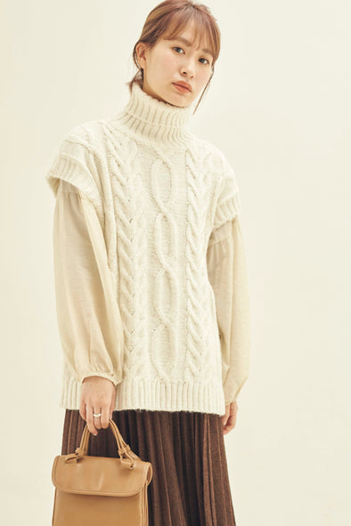 High neck cable knit vest PRMT0020