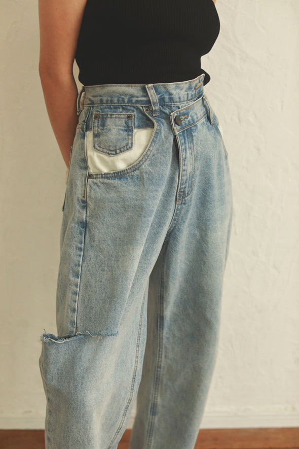 asymmetric crash denim PR120009