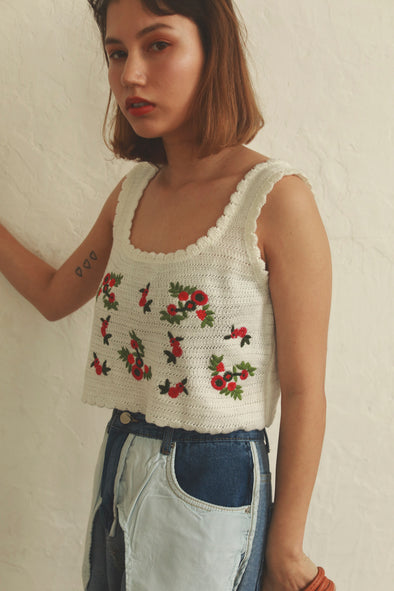 flower embroidery knit camisole PR020013