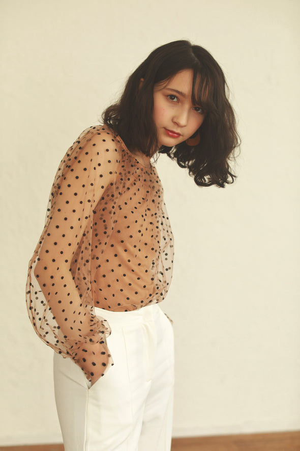 dotty sheer blouse PR090006