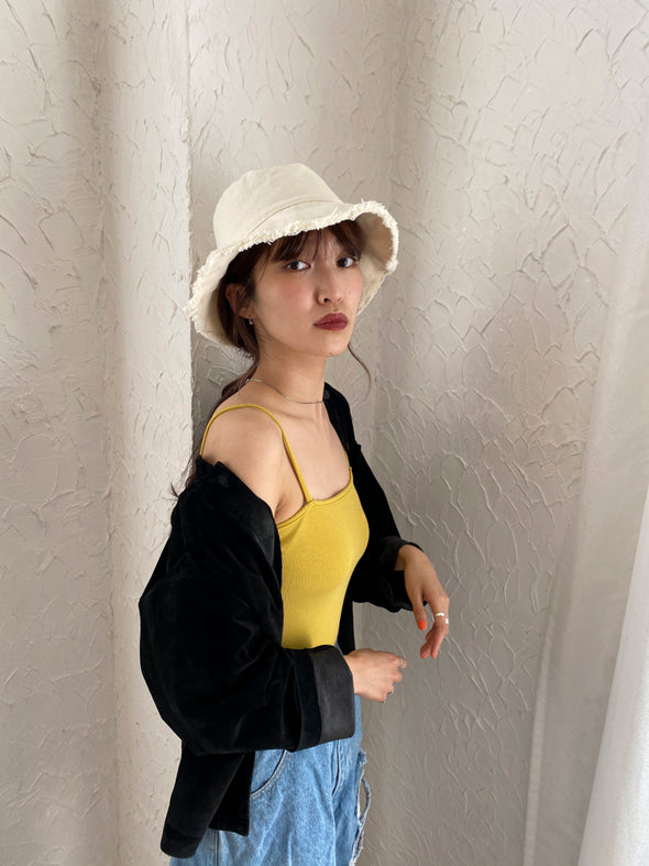 Cut-off denim bucket hat PR120004