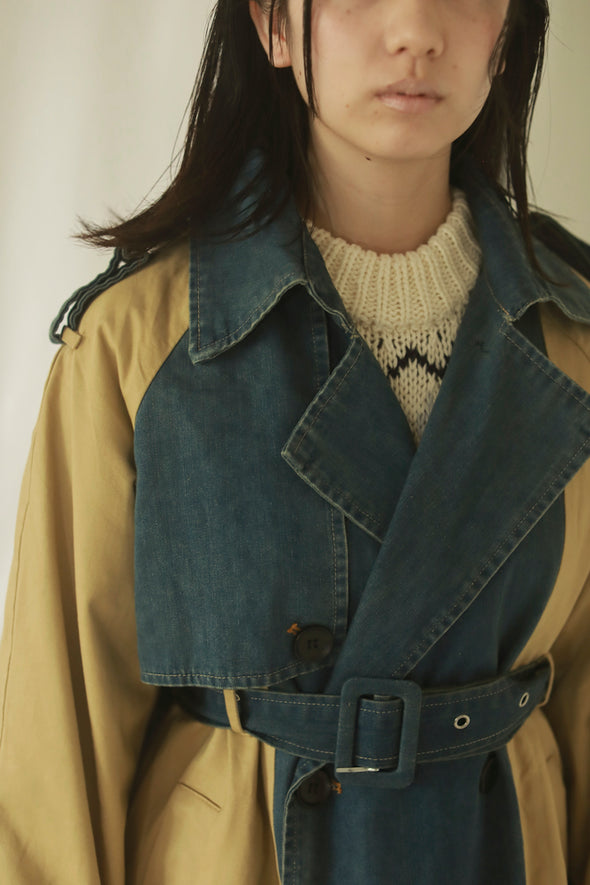denim trench coat PR240057