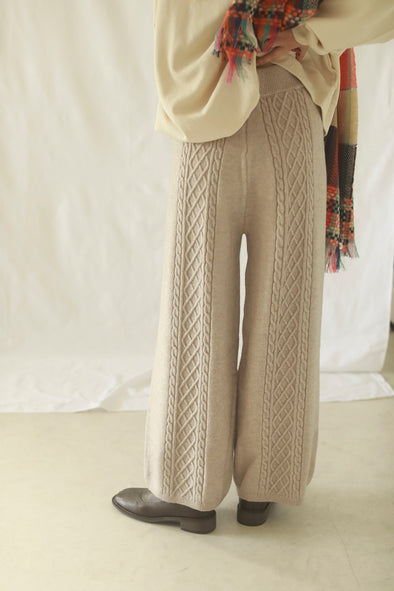 back cable knit pants PR130103