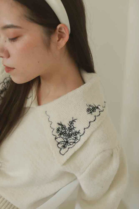 collar embroidery knit PR020122