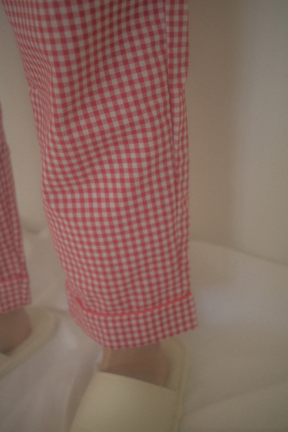 Gingham check pajamas set LR909006