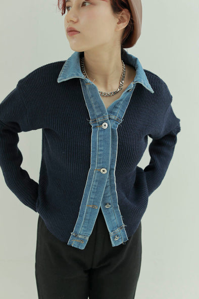 knit denim collar shirt PR040142