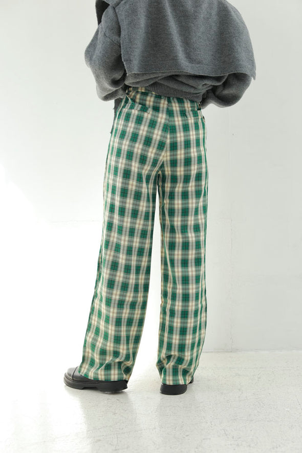 green check loose pants PR360023