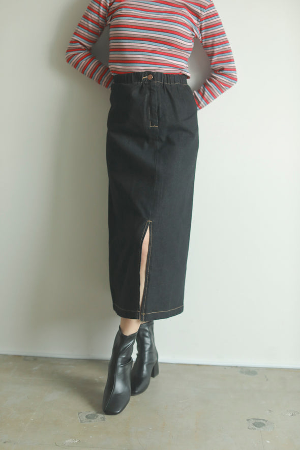 denim slit skirt PR270027