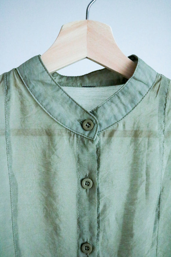 stand collar seethrough shirt PR180020
