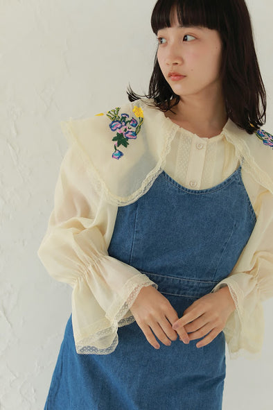 flower embroidery blouse PR240103