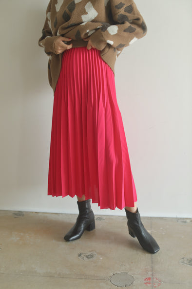 Color pleated skirt PR010090