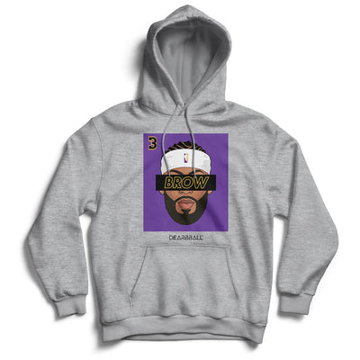 Anthony Davis Hoodie - BROW 3 Headband White Los Angeles Lakers Basketball Dearbball grey