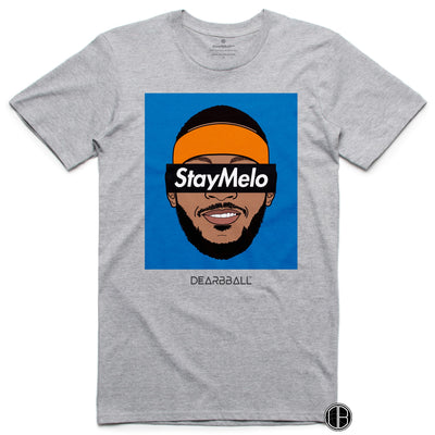 Carmelo Anthony T-Shirt Bio - Stay Melo NYK Blue portland trail blazers Basketball Dearbball grey