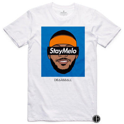 Carmelo Anthony T-Shirt Bio - Stay Melo NYK Blue portland trail blazers Basketball Dearbball white