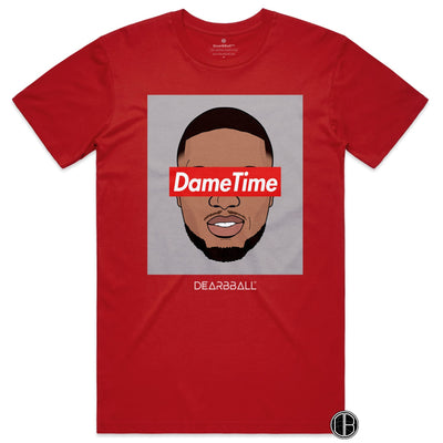 Damian Lillard T-Shirt - Dame Time Portland Trail Blazers Basketball Dearbball red