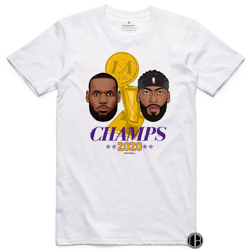 LEBRON And AD T-Shirt - LA Champion Tribute 2020 Los Angeles Lakers Basketball Dearbball grey