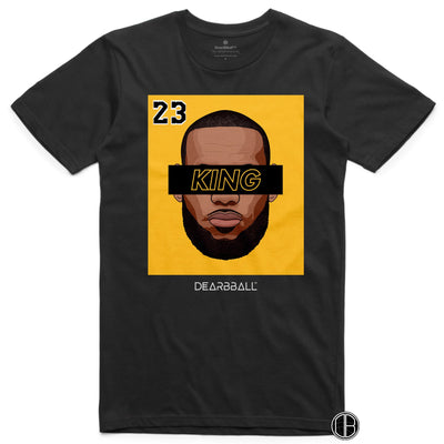 LEBRON JAMES T-Shirt - KING 23 Gold Black Limited Edition Los Angeles Lakers Basketball Dearbball black