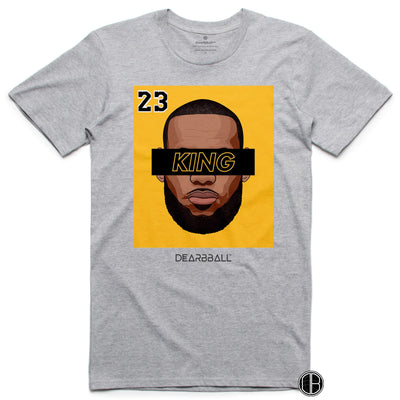 LEBRON JAMES T-Shirt - KING 23 Gold Black Limited Edition Los Angeles Lakers Basketball Dearbball grey