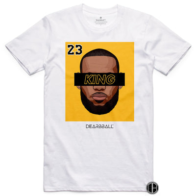 LEBRON JAMES T-Shirt - KING 23 Gold Black Limited Edition Los Angeles Lakers Basketball Dearbball white