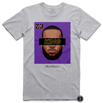 LEBRON JAMES T-Shirt KING 23 Purple Black Limited Edition grey