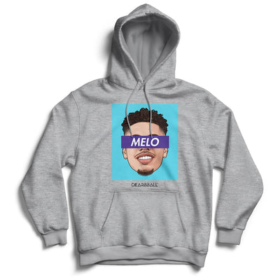 LaMelo Ball Hoodie - MELO Blue Light Charlotte Hornets Basketball Dearbball grey