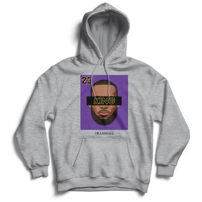 Lebron James Hoodie - KING 23 Purple Black Los Angeles Lakers Basketball Dearbball grey