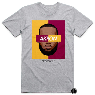 Lebron James T-Shirt - AKRON BiColor Limited Edition Grey-min