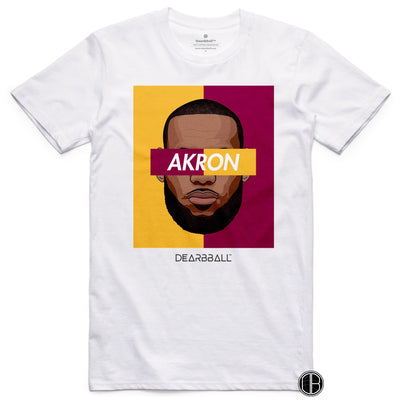 Lebron James T-Shirt - AKRON BiColor Limited Edition White-min