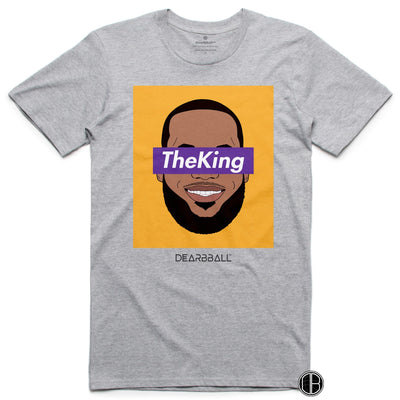 Lebron James T-Shirt - The King LA Los Angeles Lakers Basketball Dearbball grey