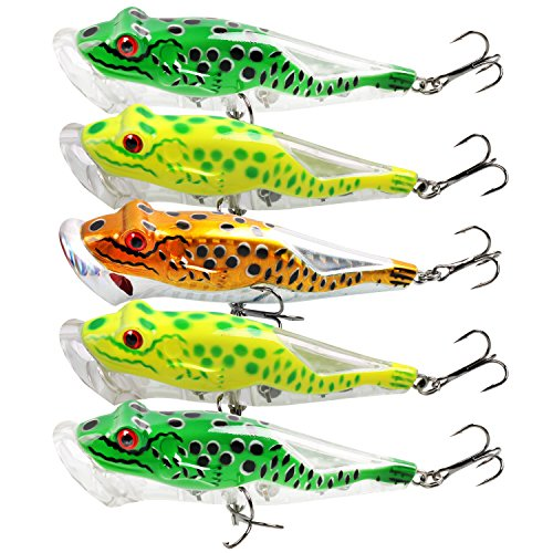 Burning Shark Frog Lure Topwater Fishing Lures with Plastic Tackle Box for  Bass Trout Walleye Redfish Freshwater and Saltwater Fishing Baits, Pack of