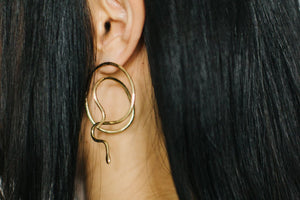 Serpent Earrings in Brass or Silver