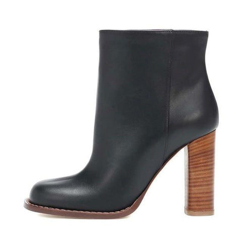 Leather Ankle High Heel Boots